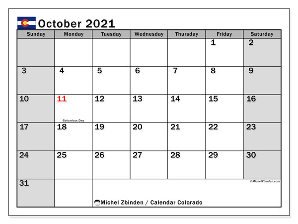 "Calendar ""Colorado"" with public holidays, October 2021, ready to print."