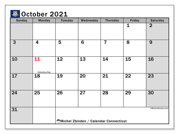 "Printable ""Connecticut"" calendar with public holidays. Monthly October 2021 calendar and bullet journal to print free."