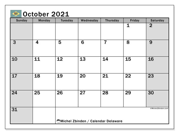 October 2021 Calendar, with the holidays of Delaware. Free printable calendar with public holidays.