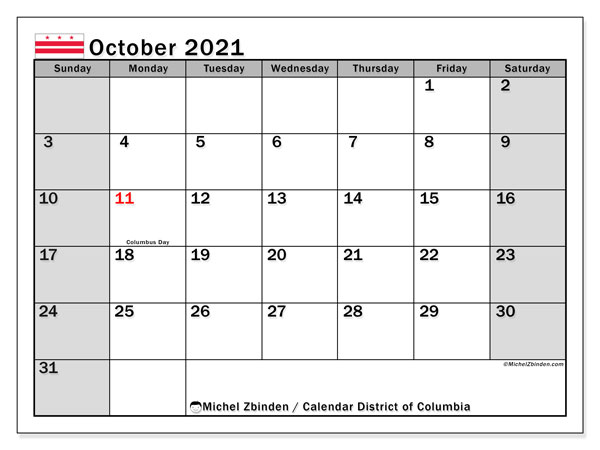 October 2021 Calendar, with the District of Columbia holidays. Free printable calendar with public holidays.