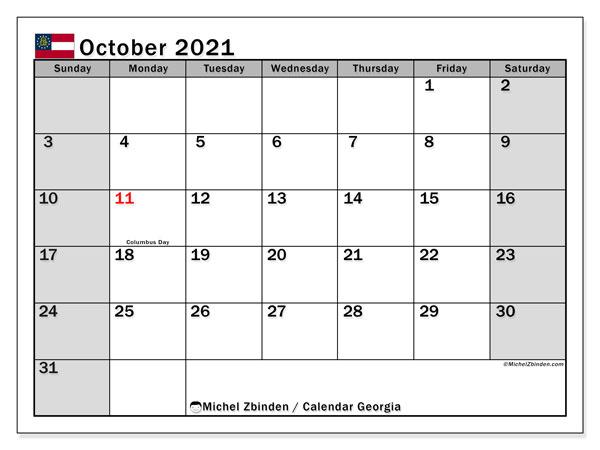 October 2021 Calendar, with the holidays of Georgia. Free printable calendar with public holidays.