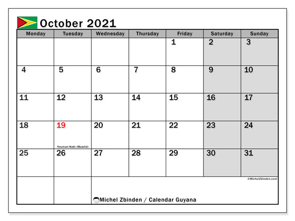 October 2021 Calendar, with the holidays of Guyana. Holidays calendar to print free.