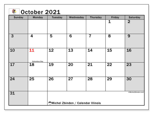 October 2021 Calendar, with the holidays of Illinois. Free printable calendar with public holidays.