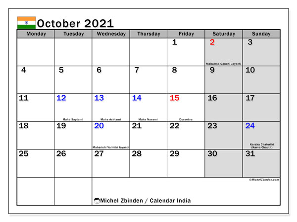October 2021 Calendar, with the holidays of India. Holidays calendar to print free.