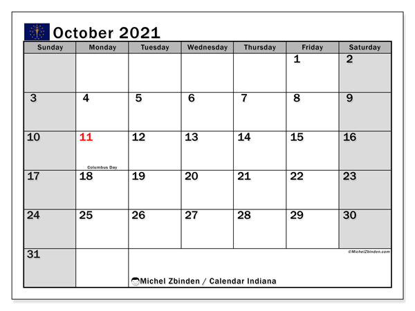 Calendar October 2021 - Indiana. Public Holidays. Monthly Calendar and free printable timetable.