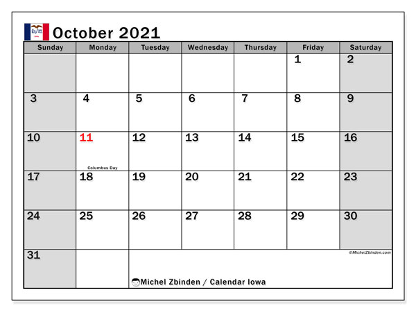 October 2021 Calendar, with the holidays of Iowa. Free printable calendar with public holidays.