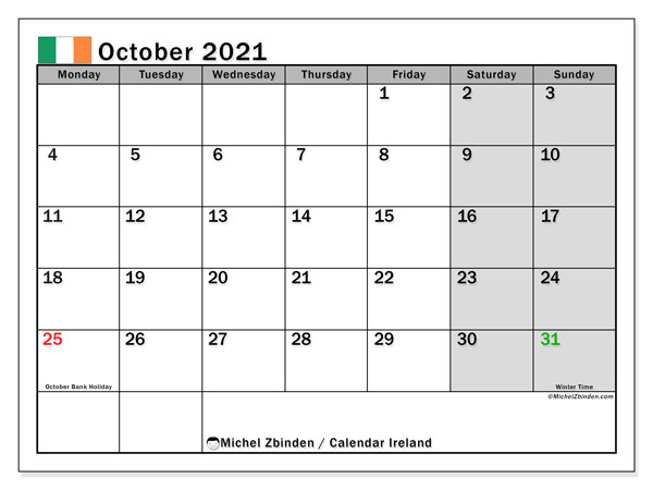 October 2021 Calendar, with the holidays of Ireland. Free printable calendar with public holidays.