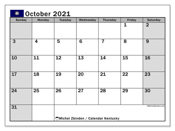 Calendar October 2021 - Kentucky. Public Holidays. Monthly Calendar and free agenda to print.