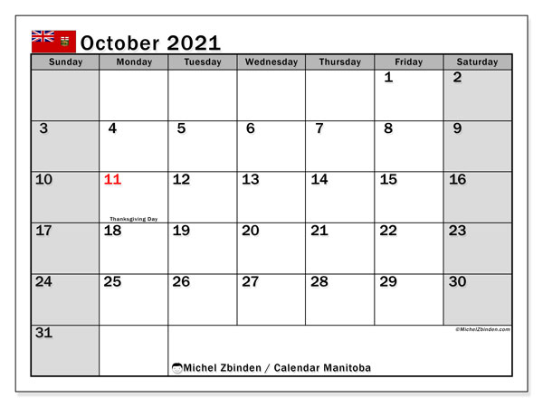 October 2021 Calendar, with the holidays of Manitoba. Free printable calendar with public holidays.