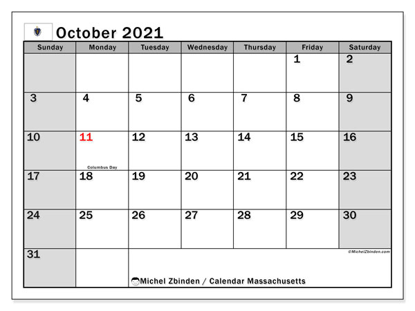 Calendar October 2021 - Massachusetts. Public Holidays. Monthly Calendar and free schedule to print.