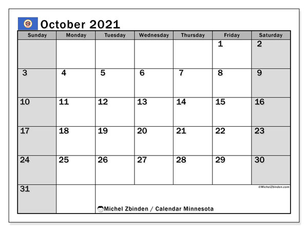 October 2021 Calendar, with the holidays of Minnesota. Free printable calendar with public holidays.
