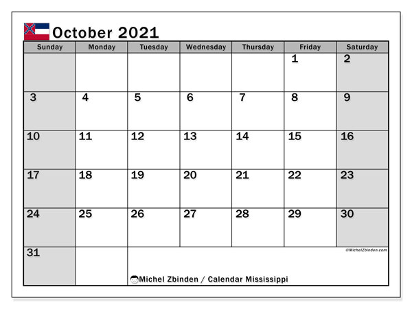 October 2021 Calendar, with the Mississippi holidays. Holidays calendar to print free.