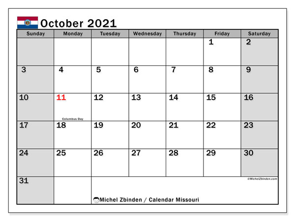 Calendar October 2021 - Missouri. Public Holidays. Monthly Calendar and free planner to print.