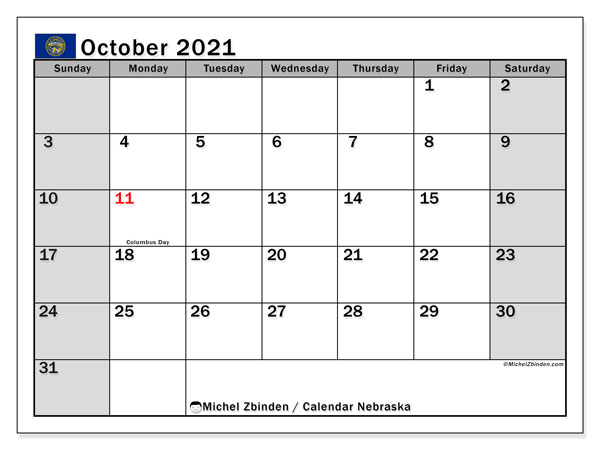 October 2021 Calendar, with the holidays of Nebraska. Holidays calendar to print free.