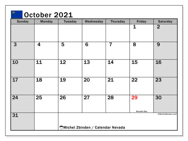 October 2021 Calendar, with the holidays of Nevada. Holidays calendar to print free.