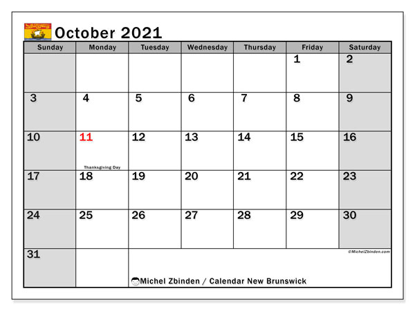 October 2021 Calendar, with the holidays of New Brunswick. Free printable calendar with public holidays.