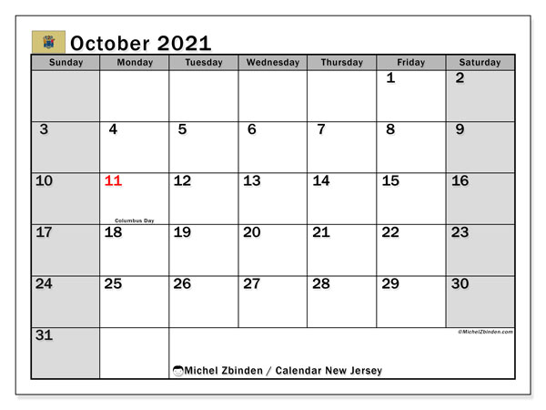 October 2021 Calendar, with the holidays of New Jersey. Free printable calendar with public holidays.