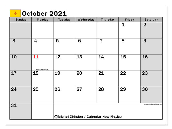 October 2021 Calendar, with the holidays of New Mexico. Holidays calendar to print free.