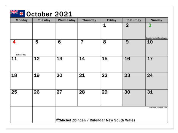 "Calendar ""New south wales"" with public holidays, October 2021, ready to print."