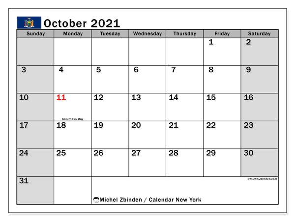 October 2021 Calendar, with the holidays of New York. Holidays calendar to print free.