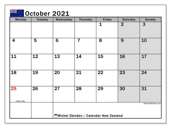 "Printable ""New Zealand"" calendar with public holidays. Monthly October 2021 calendar and planner to print free."