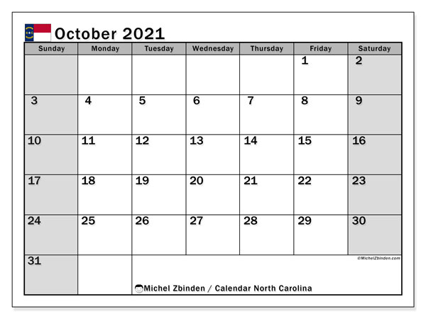 October 2021 Calendar, with the holidays of North Carolina. Free printable calendar with public holidays.