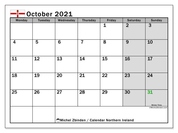 Calendar October 2021 - Northern Ireland. Public Holidays. Monthly Calendar and free printable timetable.