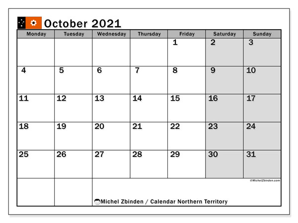 October 2021 Calendar, with the holidays of Northern Territory. Holidays calendar to print free.