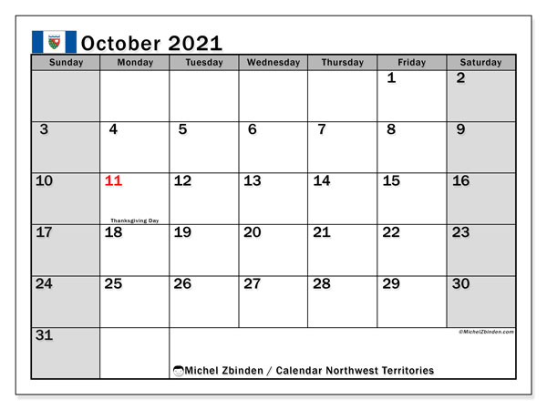 October 2021 Calendar, with the holidays of Northwest Territories. Holidays calendar to print free.