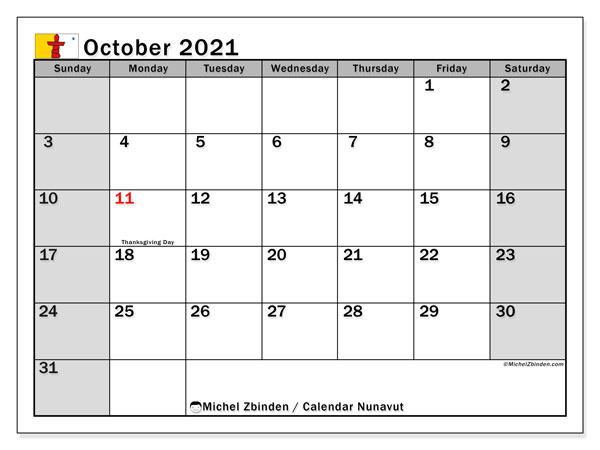October 2021 Calendar, with the holidays of Nunavut. Free printable calendar with public holidays.