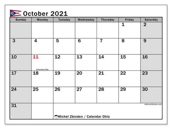 October 2021 Calendar, with the holidays of Ohio. Holidays calendar to print free.