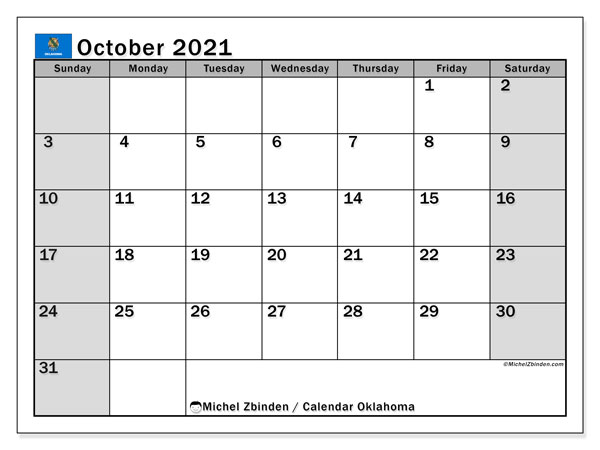 October 2021 Calendar, with the holidays of Oklahoma. Free printable calendar with public holidays.