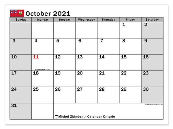 October 2021 Calendar, with the holidays of Ontario. Holidays calendar to print free.
