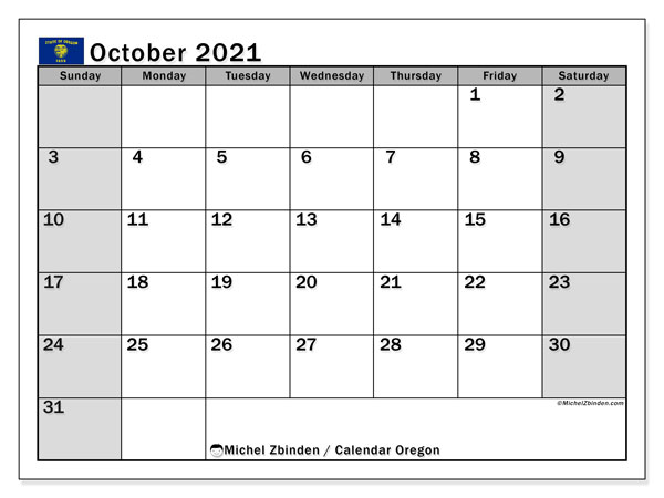 Calendar October 2021 - Oregon. Public Holidays. Monthly Calendar and schedule to print free.