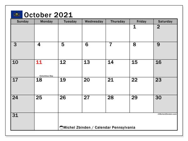 October 2021 Calendar, with the holidays of Pennsylvania. Holidays calendar to print free.