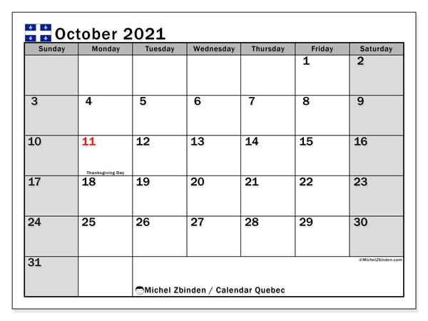 October 2021 Calendar, with the holidays of Quebec. Free printable calendar with public holidays.