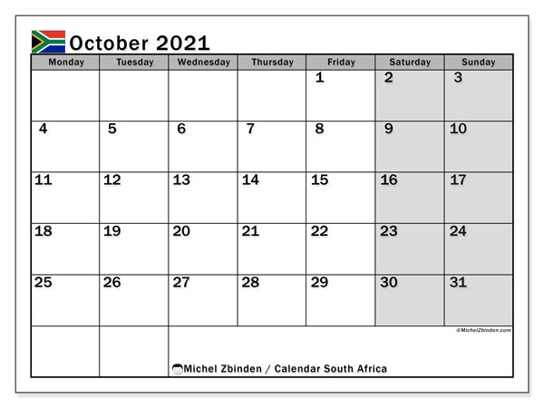 Printable October 2021 Calendar, South Africa (MS)