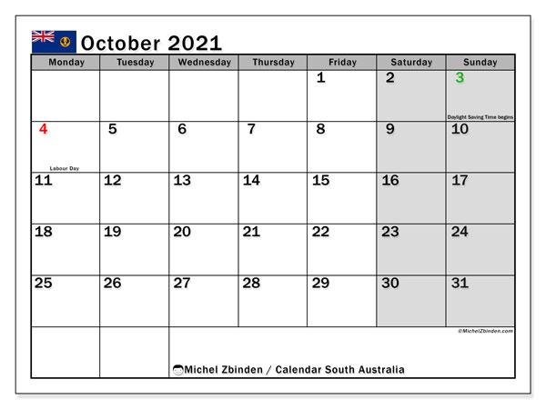 October 2021 Calendar, with the holidays of South Australia. Holidays calendar to print free.