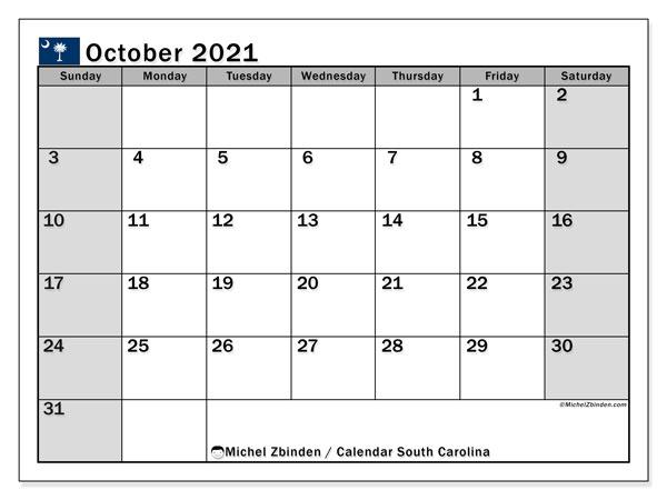 October 2021 Calendar, with the holidays of South Carolina. Holidays calendar to print free.