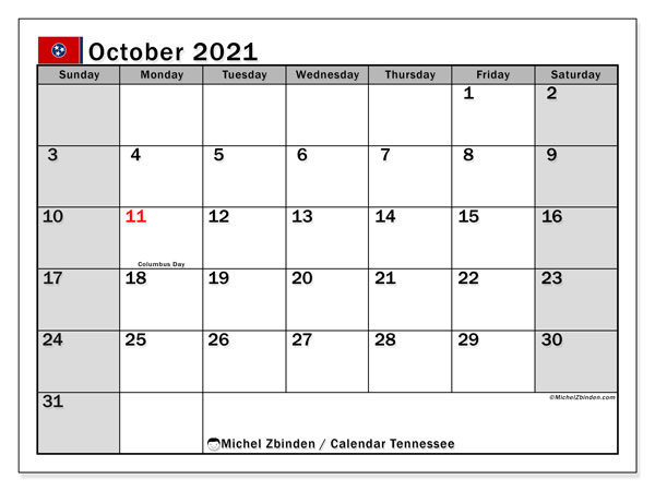 October 2021 Calendar, with the holidays of Tennessee. Free printable calendar with public holidays.