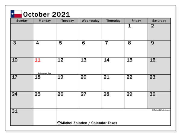 October 2021 Calendar, with the holidays of Texas. Holidays calendar to print free.