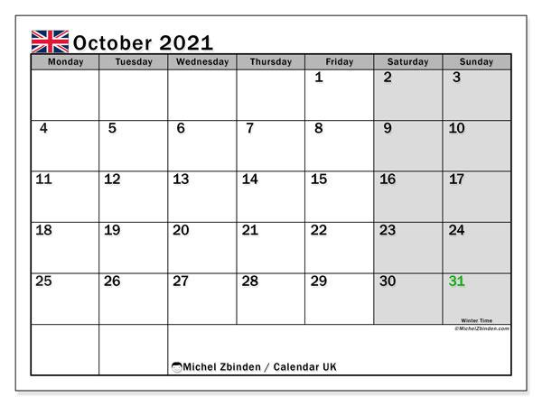October 2021 Calendar, with the holidays of UK. Holidays calendar to print free.