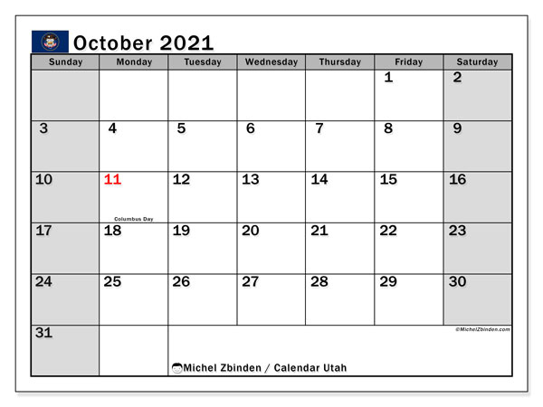 "Printable ""Utah"" calendar with public holidays. Monthly October 2021 calendar and agenda to print free."