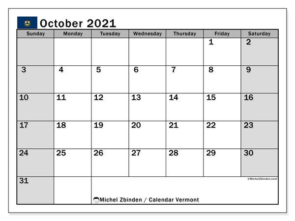 Calendar October 2021 - Vermont. Public Holidays. Monthly Calendar and free printable schedule.