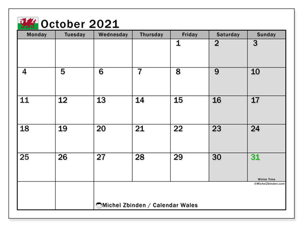 October 2021 Calendar, with the holidays of Wales. Holidays calendar to print free.
