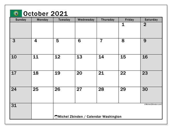 October 2021 Calendar, with the holidays of Washington. Holidays calendar to print free.