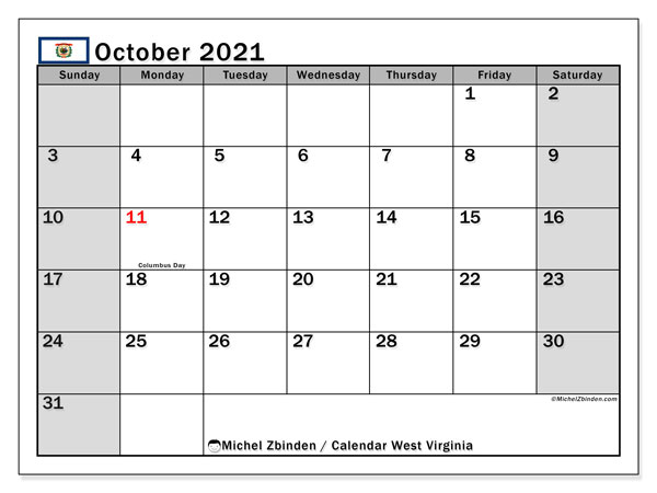 October 2021 Calendar, with the holidays of West Virginia. Free printable calendar with public holidays.