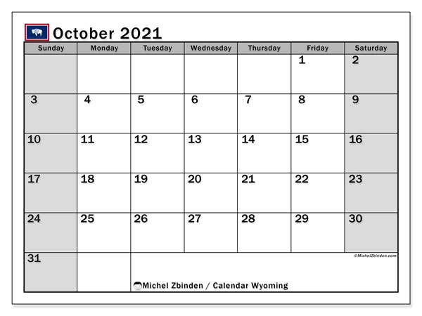 October 2021 Calendar, with the holidays of Wyoming. Holidays calendar to print free.