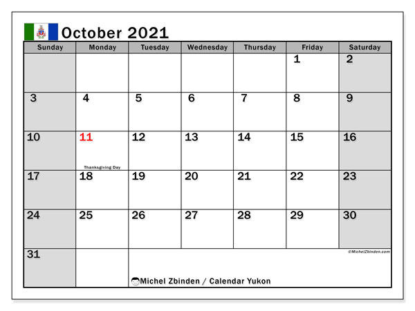 October 2021 Calendar, with the holidays of Yukon. Holidays calendar to print free.