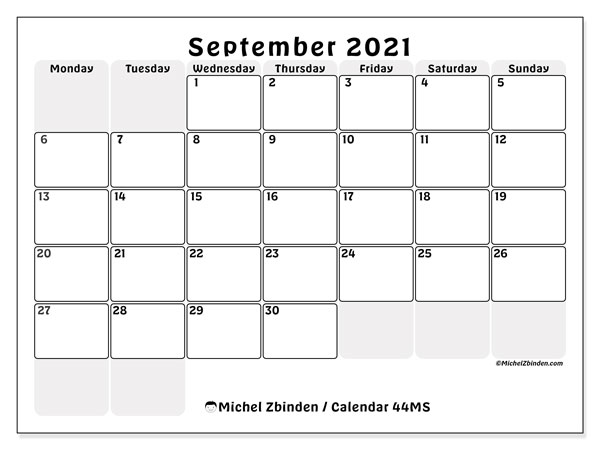 Printable calendar, September 2021, 44MS